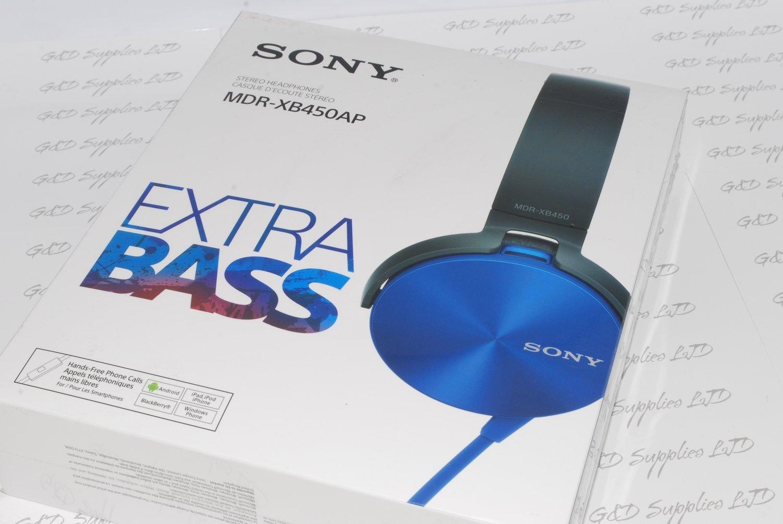Sony MDR-XB450 Xtra Bass Overhead Headphones - Blue UK STOCK