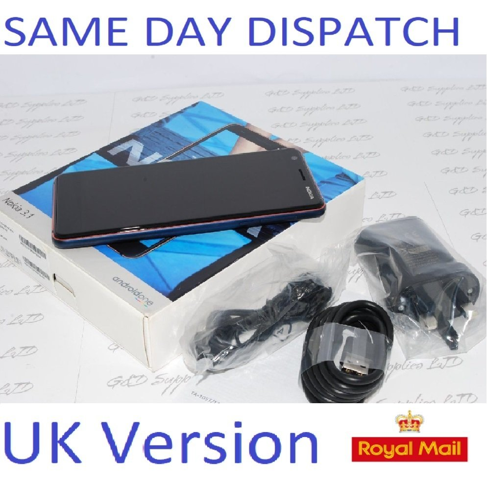 "NEW Nokia 3.1 2018 Unlocked 4G LTE Mobile Phone, 5.2"" Blue 16GB UK STOCK"