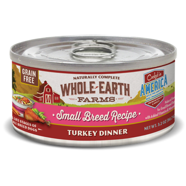 >>LAST CHANCE BOGO CLOSEOUT<< Merrick Whole Earth Farms Grain Free Small Breed Turkey Dinner Canned Dog Food, 3.2 Oz. 24 count (1/19) **Buy 1 Get 2, Buy 2 Get 4, Buy 3 Get 6, Etc.