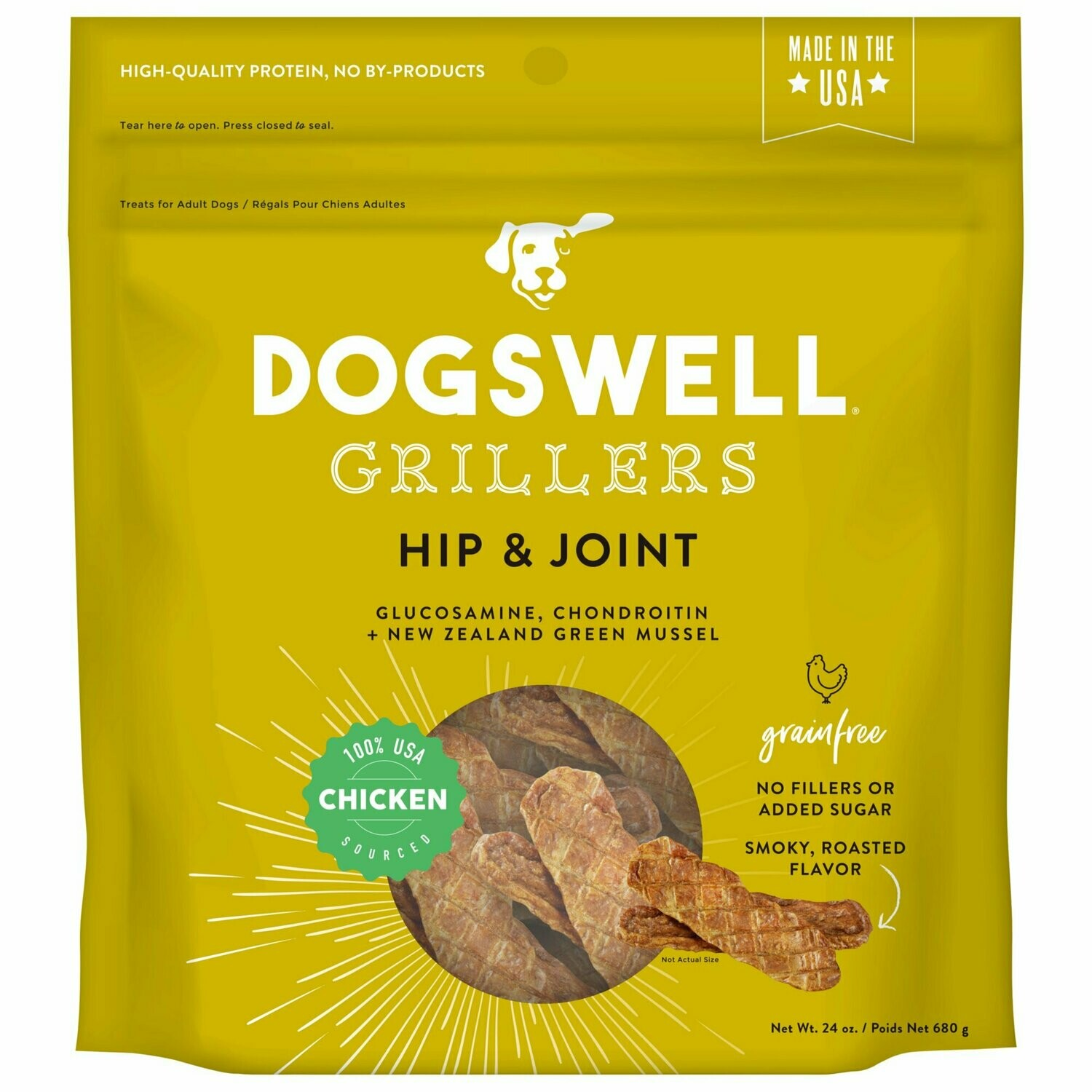 Dogswell Hip & Joint Grillers Grain-Free Chicken Recipe for Dogs 24 oz (2/19) (T.F15)