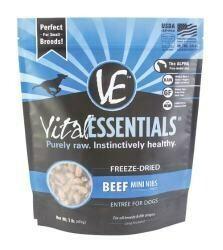 Vital Essentials Freeze-Dried Mini Nibs Grain Free Beef Freeze Dried Dog Food, 1 lb. (5/19) (A.M5)
