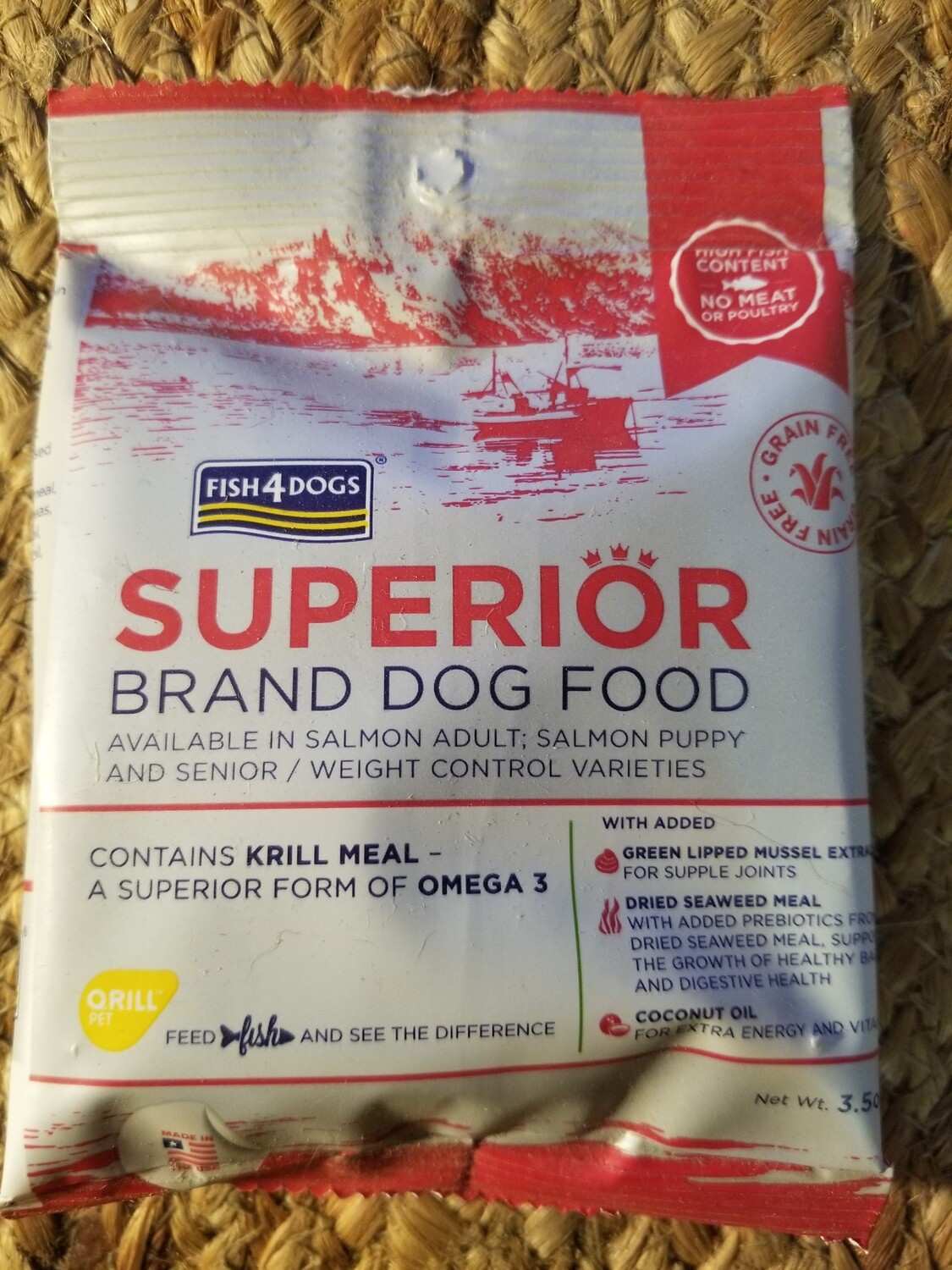 """Fish4Dogs Superior Brand Salmon w/Krill Oil Dry Dog Food """"Trial Size"""" 3.5 oz"""