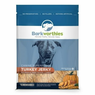 Barkworthies Superfoods Turkey Jerky With Pumpkin And Carrot Dog Snacks .4ounces (3/19)