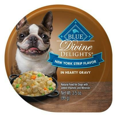BLUE Divine Delights New York Strip Flavor in Gravy Dog Food, 3.5 oz. Cup 12 count (11/19) (A.O1)