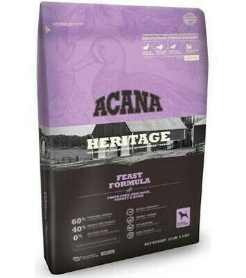 ACANA heritage feast formula fresh duck turkey and quail 12 ounces all breed all life stages for dogs grain-free  (10/20)