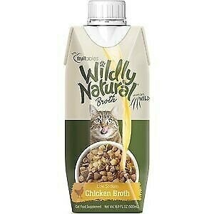 **BOGO** FRUITABLES wildly naturals broth low-sodium chicken broth for cats cat food supplement 16.9 fluid ounces (4/20)