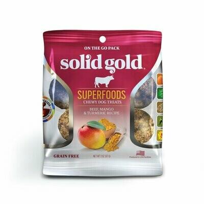 5 FUR $.49 SOLID GOLD Superfoods Beef, Mango & Tumeric Recipe Grain-Free Dog Treats 2 oz (2/19)