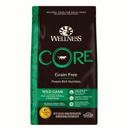 Wellness grain free protein rich nutrition wild game dock lamb meal wild boar and rabbit recipe for adult dogs 4 pounds (12/20)