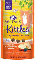 5 FUR $1.00 Wellness 100% all-natural grain-free kittles tasty crunchy cat treats turkey and cranberry recipe 2 ounces under 2 cal per treat (4/20) **Buy 5 Get 10, Buy 10 Get 20, Buy 3 Get 30, etc. **