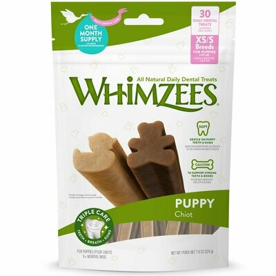 Whimzees these all-natural daily dental treats extra small to small breeds for puppies 5 to 20 pounds 30 counts 7.9 ounces 3+ months triple care teeth breath comes  (5/22)