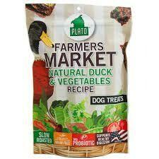 Plato pet treats farmers market natural duck and vegetable recipe dog treats grain-free 4 ounces (9/19)