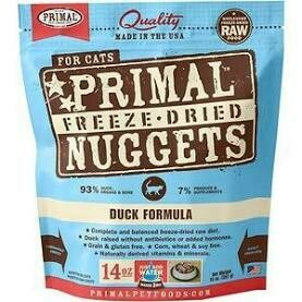 >>BOGO CLOSEOUT<< Primal Nuggets (14 Oz Bags) Freeze-Dried Cat Food Duck Formula 14 oz  Note:  Green bag (8/20) **Buy 1 Get 2, Buy 2 Get 4, Buy 3 Get 6, Etc.
