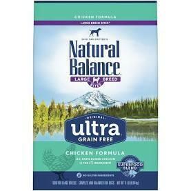 Natural Balance Original Ultra Grain Free Large Breed Bites Chicken Dry Dog Food 11 lbs (6/20)