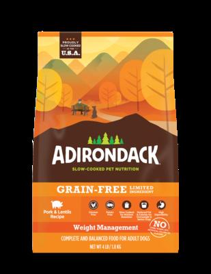Adirondack Slow-Cooked Pet Nutrition Grain-Free LID Weight Management Pork & Lentils Receipt 25 lbs (4/20)