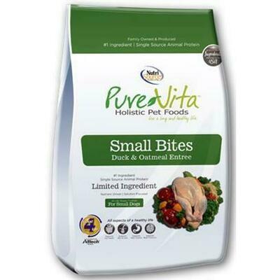 PureVita Small Bites Duck & Oatmeal Recipe Dry Dog Food 15-lb (11/20)