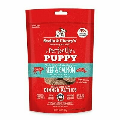 Stella & Chewy's Beef & Salmon Dinner Patties for Puppies Freeze-Dried Raw 5.5 OZ (4/20)