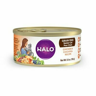 >>4 FUR CLOSEOUT<< ONLY $1 PER CASE ** Halo Grain-Free Wet Cat Food, Shredded Chicken & Chickpea Recipe, 5.5 Oz. 12 COUNT (1/20)