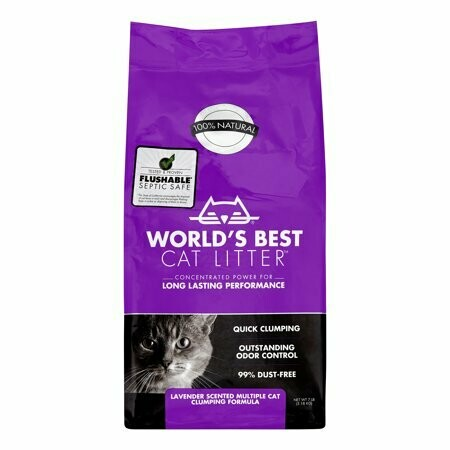 World's Best Cat Litter Cat Lavender Scented Multiple Cat Clumping Formula, 7 lbs