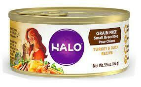 >>2 FUR CLOSEOUT<< ONLY $1 PER CASE **  Halo Small Breed Grain-Free Turkey & Duck Recipe Canned Dog Food 5.5 oz 12 ct. (1/20)