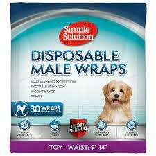 """Simple Solution Disposable Dog Diapers for male Dogs - Male Wraps with Super Absorbent Leak-Proof Fit TOY - Waist 9"""" 0 14""""30 COUNT"""