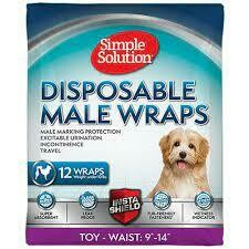 """Simple Solutions Disposable Male Wraps Toy Waist: 9"""" 14""""12 COUNT"""