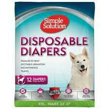 """Simple Solution True Fit Disposable Dog Diapers for Female Dogs Super Absorbent 12 Count XXL - Waist:  22"""" -37"""""""