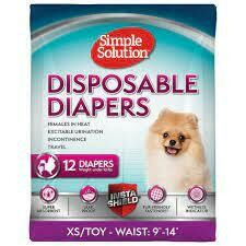 Simple Solution True Fit Disposable Dog Diapers for Female Dogs Super Absorbent XSM 12 pack