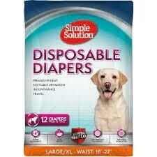 Simple Solutions True Fit Disposable Dog Diapers for Female Dogs - Super Absorbent with Wetness Indicator Large/XL 12 COUNT