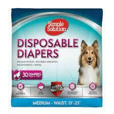 """Simple Solution True Fit Disposable Dog Diapers for Female Dogs Super Absorbent 30 count Medium: Waist 15"""" - 23"""""""