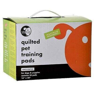 """LOLA BEAN QUILTED PET TRAINING PADS 16"""" X 20"""" 50 COUNT"""