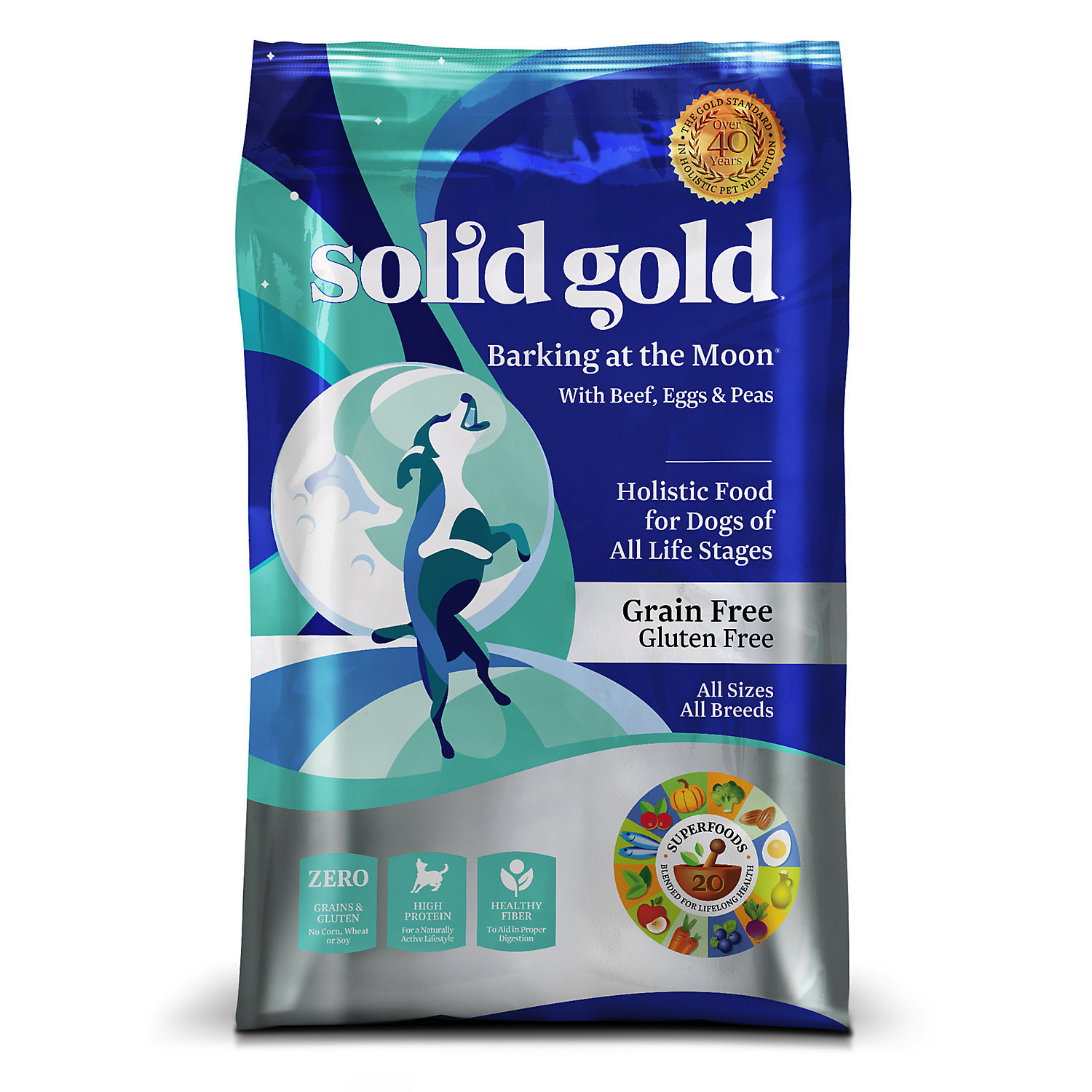 Solid Gold Barkins at the Moon Beef, Eggs, Peas Grain Free Dry Dog Food 4 lbs (9/18) (A.G3)