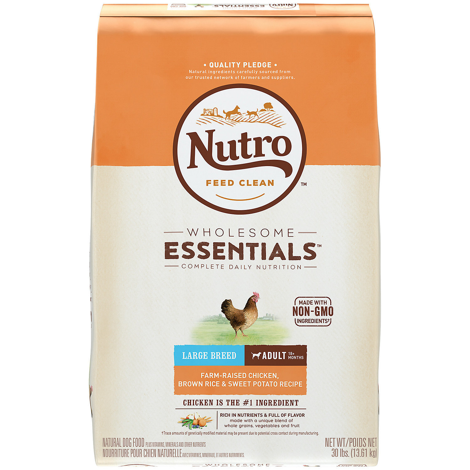 Nutro Wholesome Essentials Large Breed Adult Chicken & Rice Dry Dog Food - 30lb (12/18) (A.Q3)