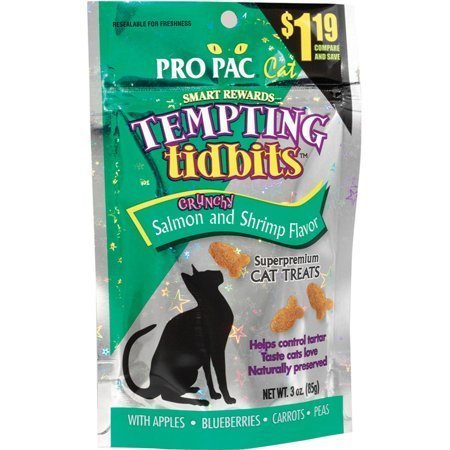 **SALE** PRO PAC Tempting Tidbits Crunchy Salmon and Shrimp Cat Treat, 3-Ounce Bag (6/18) (T.C2)