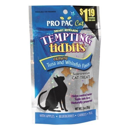 PRO PAC Tempting Tidbits Crunchy Tuna and Whitefish Cat Treat, 3-Ounce Bag (7/18) (T.B3)