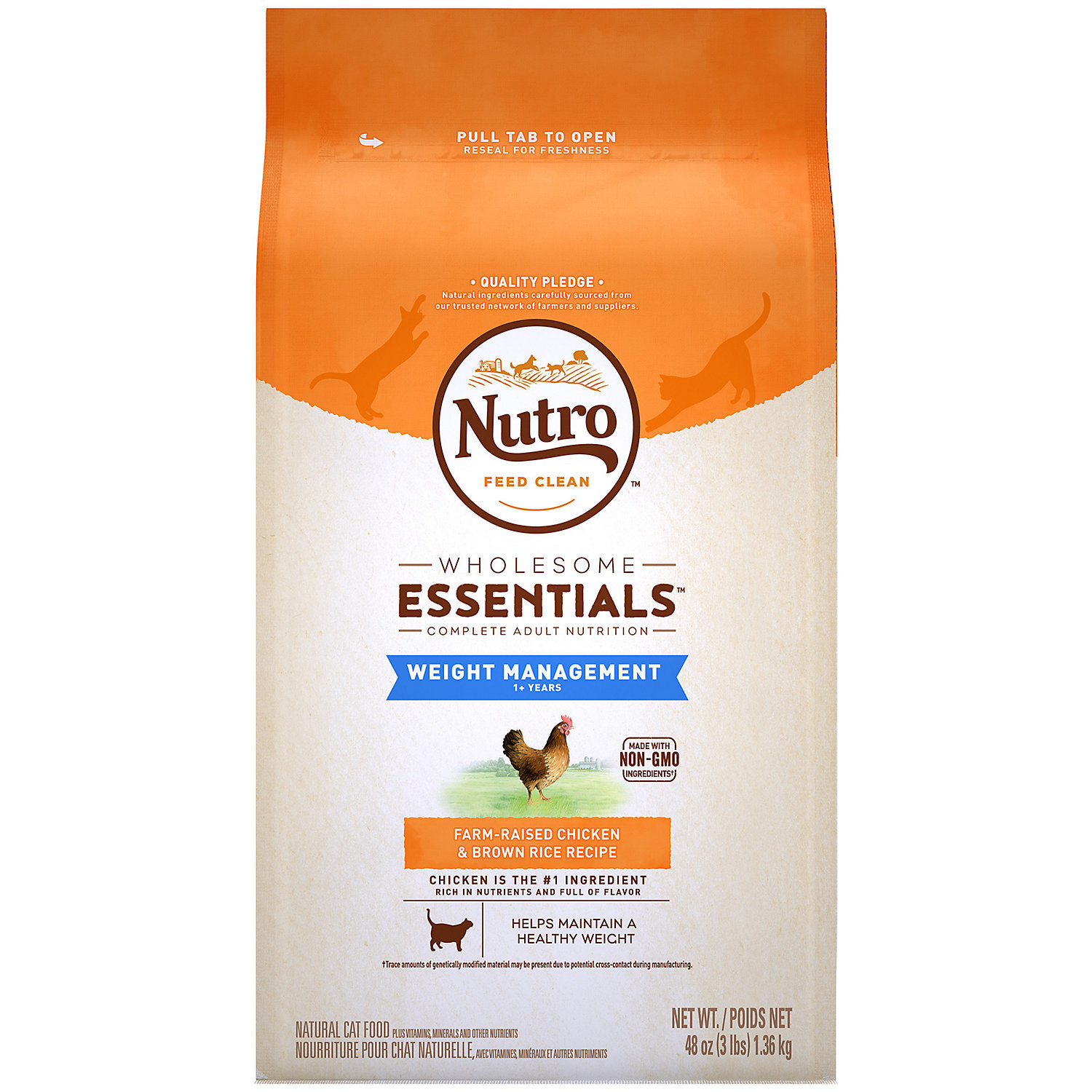 Nutro wholesome essentials weight management 1+ years farm-raised chicken and brown rice recipe for cats 3 pounds (4/20)