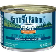 Natural Balance Original Ultra Whole Body Health Chicken Duck & Brown Rice Puppy Formula Canned Dog Food 6 oz 12 count (5/20)