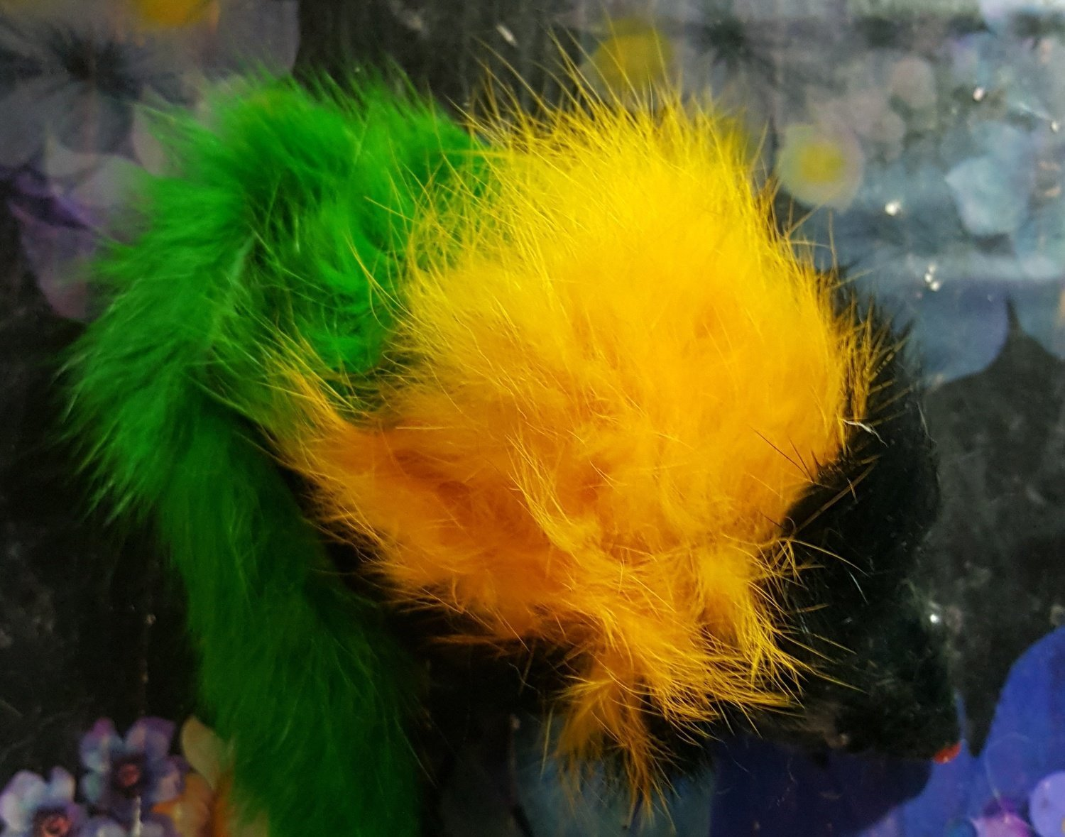 Fuzzy Furry Large Yellow/Black/Green Mouse Cat Toy (RPAL112)