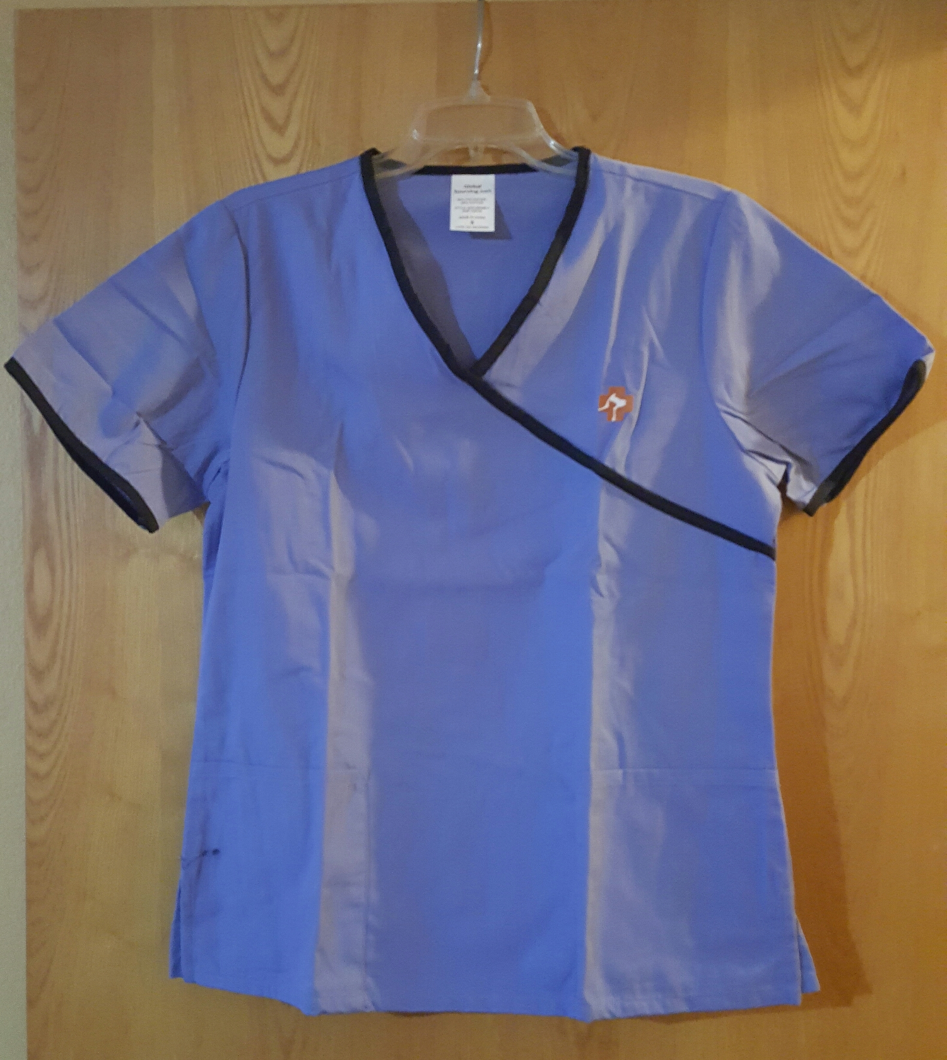 Scrub Top with First Aid Dog & Cat Logo - Light Blue Small