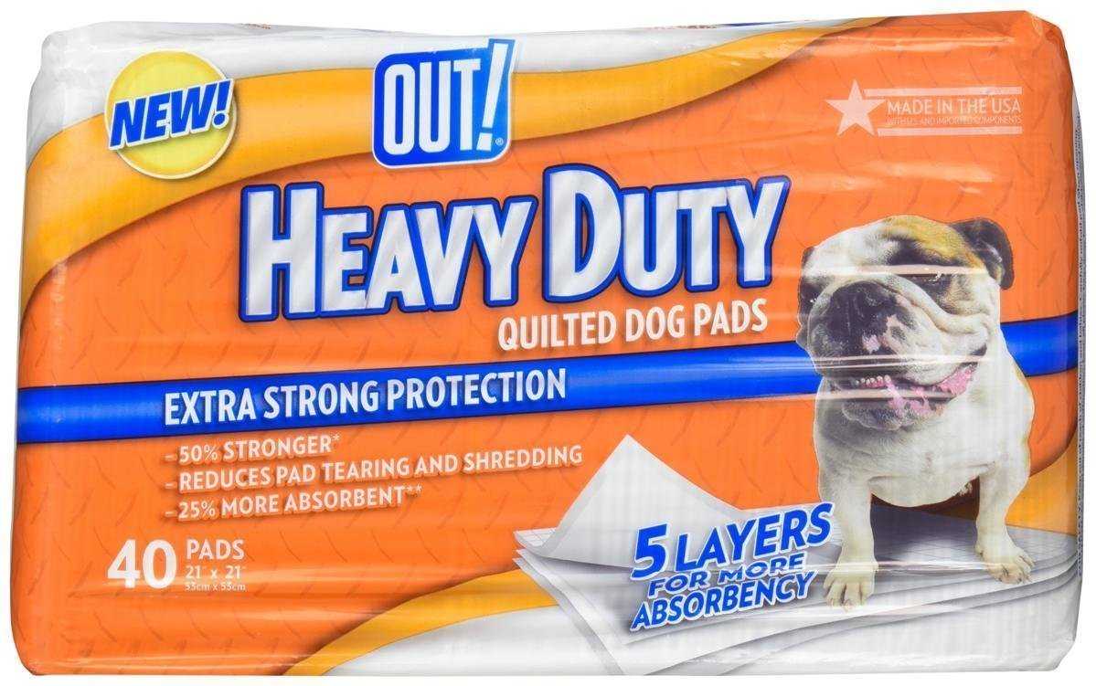 """Out! """"Heavy Duty"""" Quilted Potty Pads In Package 21"""" x 21"""" 40 Count"""