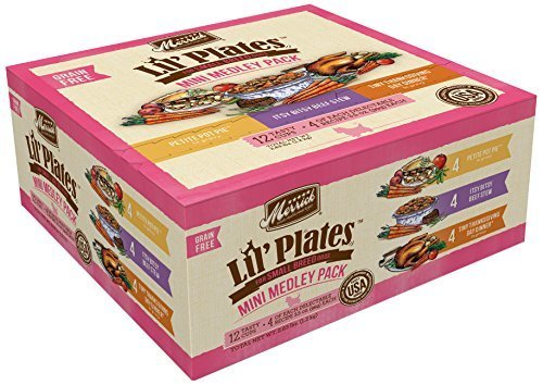 Merrick Lil Plates Small Breed Grain Free Mini Medley Pack Wet Dog Food, 3.5 oz. 12 count (1/19) (A.I4)