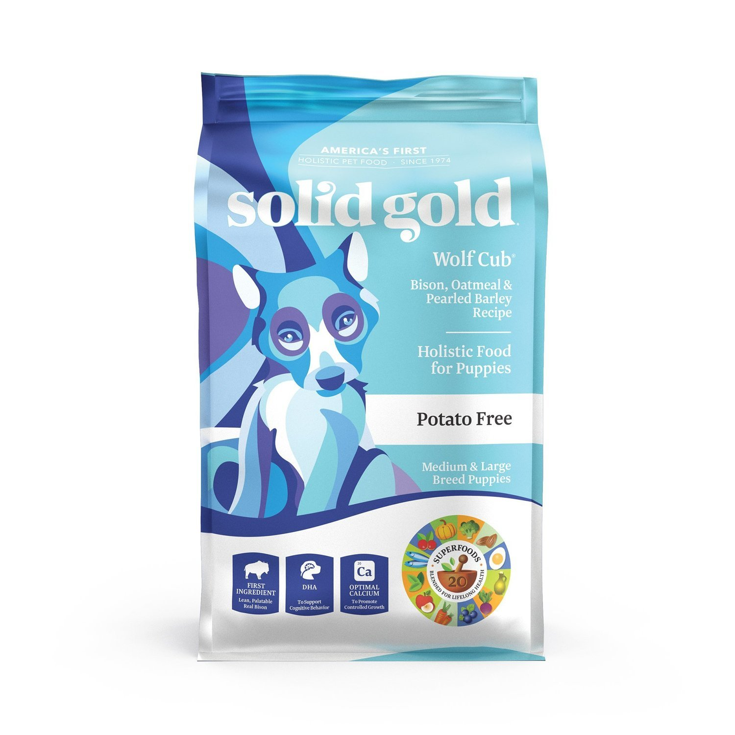 Solid Gold Wolf Cub Bison & Oatmeal Puppy Food, 24 lbs. (3/19) (A.I3)