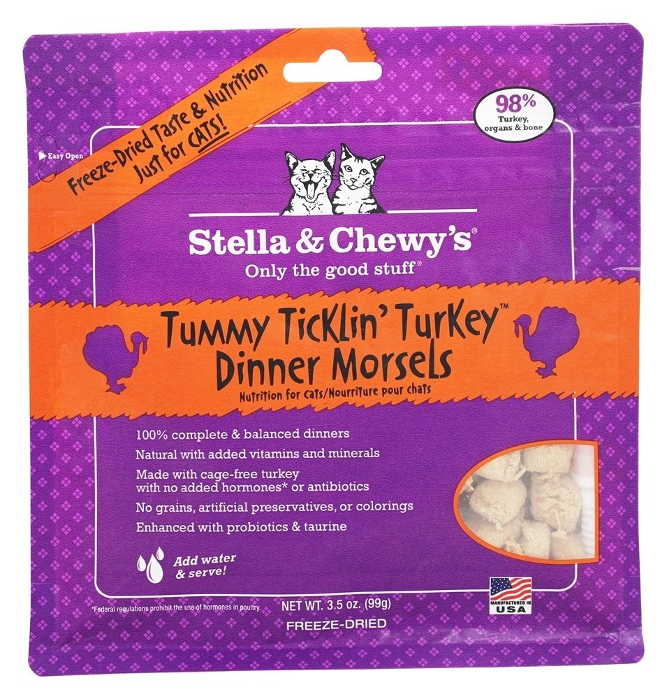 Stella & Chewy's Tummy Ticklin Turkey Freeze Dried Dinner Cat Food 3.5 oz All Ages (3/19) (A.J1)