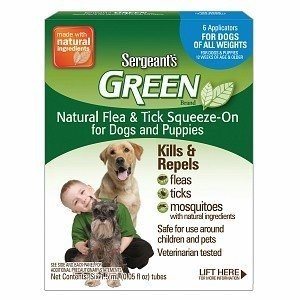 Sergeant's Green Dog Flea & Tick Squeeze-On, One Size Fits All, 6 ea **May Ship Out of Box** (O.J3/PR)