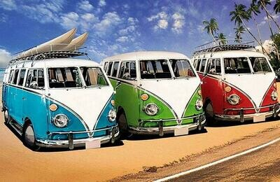 3 Kombi Vans - Full Drill Diamond Painting - Specially ordered for you. Delivery is approximately 4 - 6 weeks.