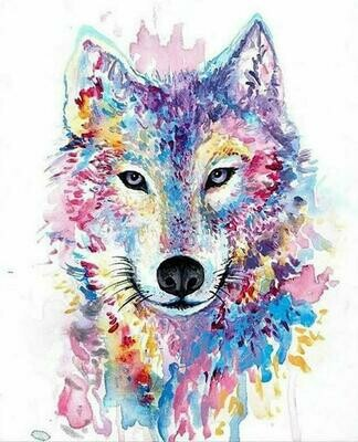 Coloured Wolf  - Full Drill Diamond Painting - Specially ordered for you. Delivery is approximately 4 - 6 weeks.