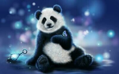 Blue Panda With Butterfly  - Full Drill Diamond Painting - Specially ordered for you. Delivery is approximately 4 - 6 weeks.