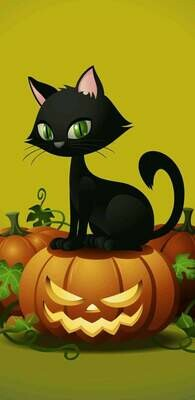 Cat And Pumpkin 02  - Full Drill Diamond Painting - Specially ordered for you. Delivery is approximately 4 - 6 weeks.