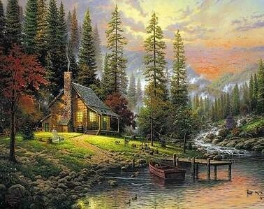 Autumn River Cottage - Full Drill Diamond Painting - Specially ordered for you. Delivery is approximately 4 - 6 weeks.