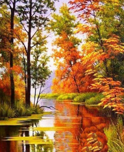 Autumn River 02 - Full Drill Diamond Painting - Specially ordered for you. Delivery is approximately 4 - 6 weeks.