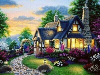 Beautiful Cottage - Full Drill Diamond Painting - Specially ordered for you. Delivery is approximately 4 - 6 weeks.
